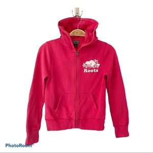 Roots Pink Zip Up Girl Hoodie - Size L (9-10)